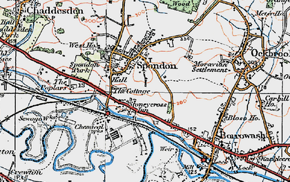 Old map of Spondon in 1921