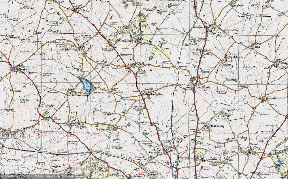 Old Map of Spratton, 1919 in 1919