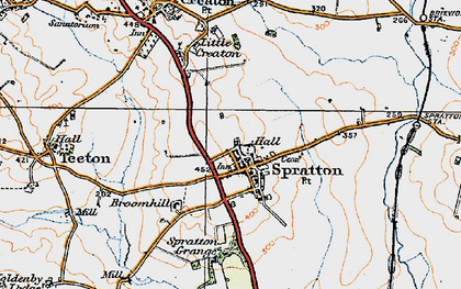 Old map of Spratton in 1919
