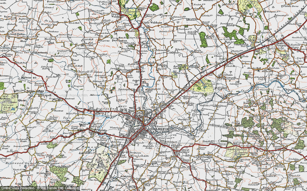 Old Map of Springfield, 1921 in 1921