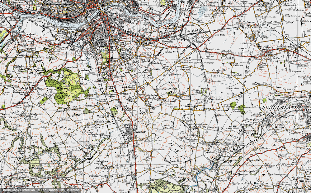 Old Map of Springwell, 1925 in 1925
