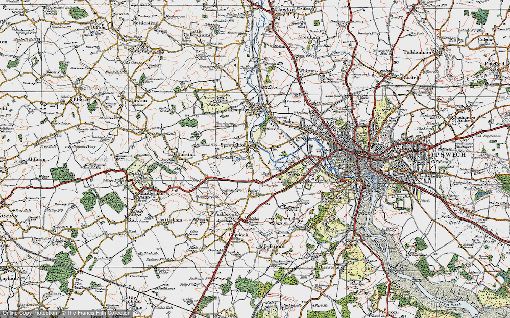 Old Map of Historic Map covering Abbey Oaks in 1921