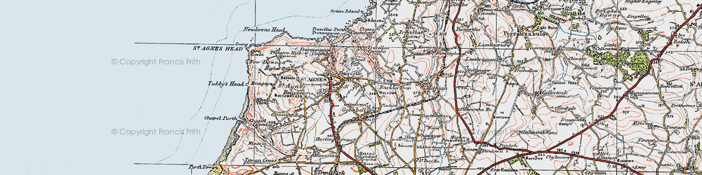 Old map of St Agnes in 1919