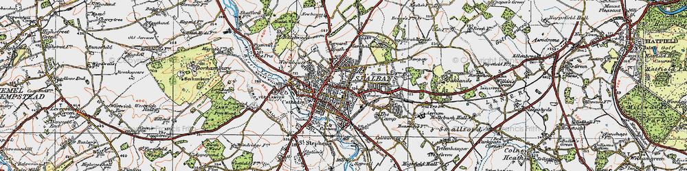 Old map of St Albans in 1920