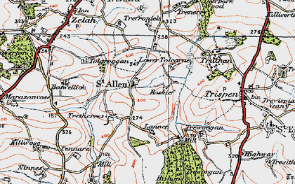Old map of St Allen in 1919