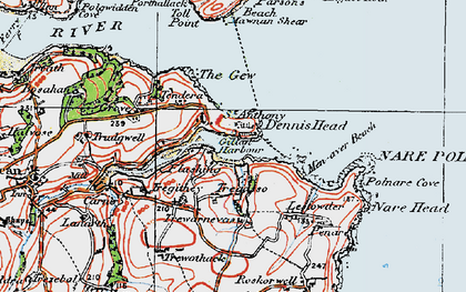 Old map of St Anthony-in-Meneage in 1919