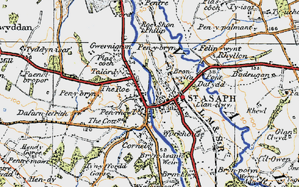 Old map of St Asaph in 1922