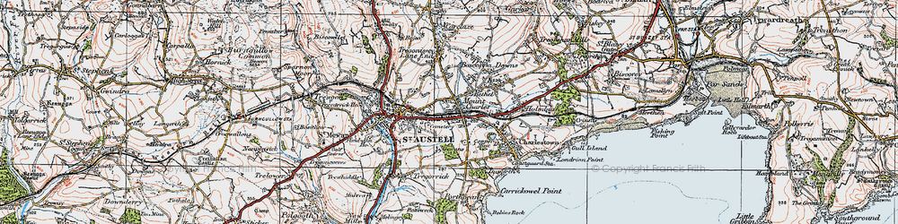 Old map of St Austell in 1919
