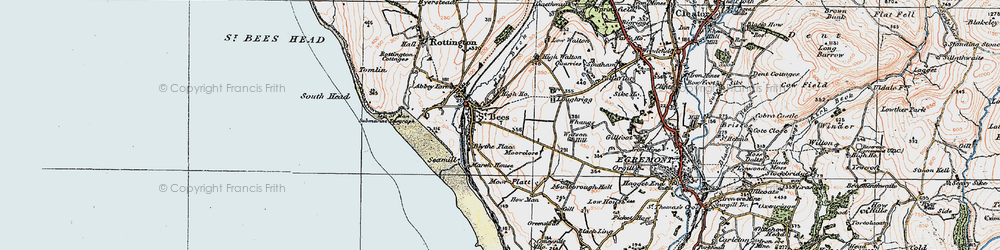 Old map of St Bees in 1925