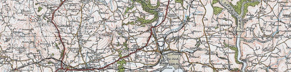Old map of St Blazey in 1919