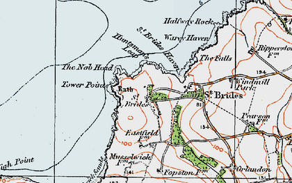 Old map of St Brides in 1922