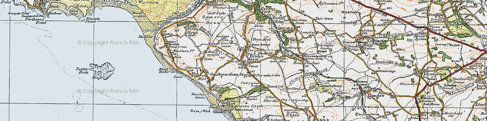 Old map of St Brides Major in 1922