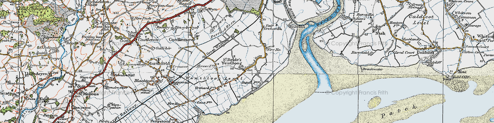Old map of West Usk Lighthouse in 1919