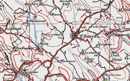 Old map of St Buryan in 1919