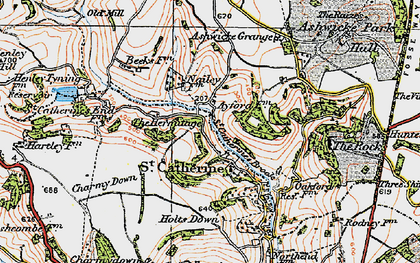 Old map of Ashwicke Grange in 1919