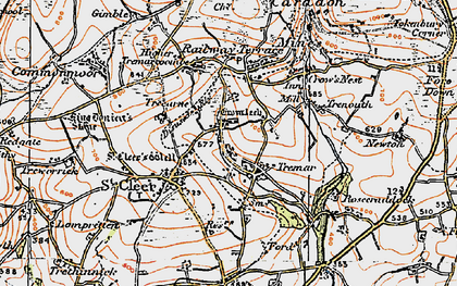 Old map of St Cleer in 1919