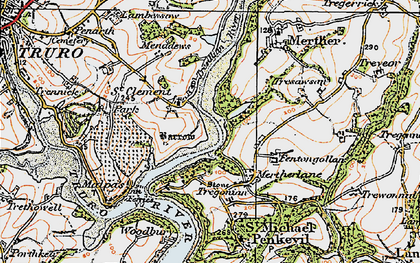 Old map of St Clement in 1919