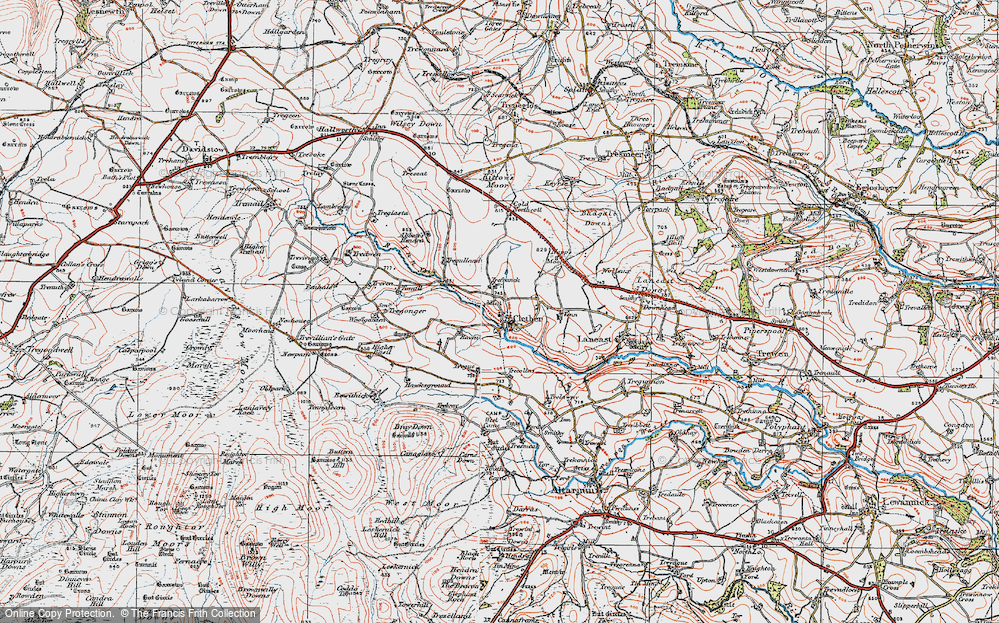Old Map of Historic Map covering Abbott's Hendra in 1919