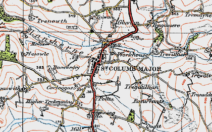 Old map of St Columb Major in 1919