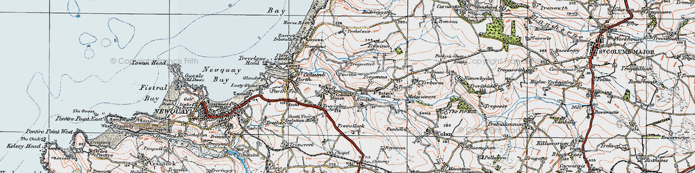 Old map of St Columb Minor in 1919