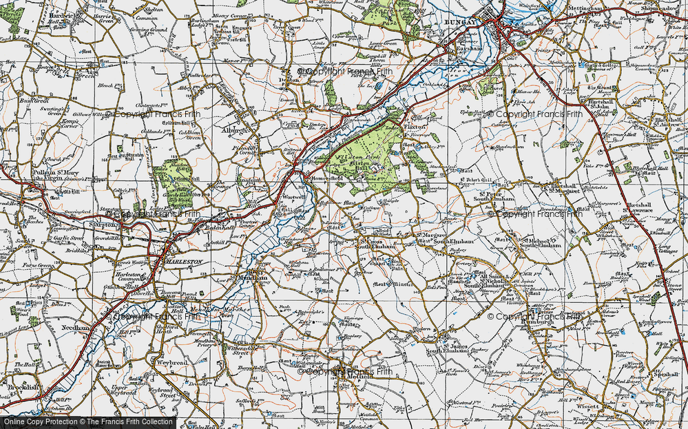 Old Map of St Cross South Elmham, 1921 in 1921