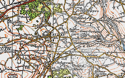 Old map of St Day in 1919