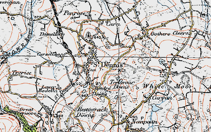 Old map of St Dennis in 1919