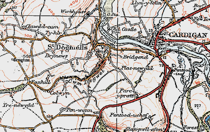 Old map of St Dogmaels in 1923