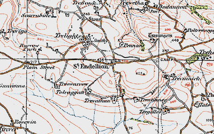 Old map of St Endellion in 1919