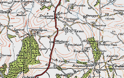 Old map of St Erme in 1919