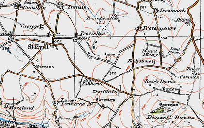 Old map of St Eval in 1919