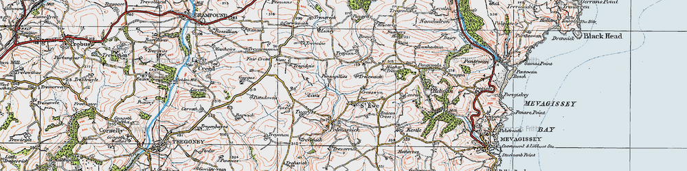 Old map of St Ewe in 1919