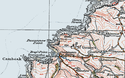 Old map of St Gennys in 1919