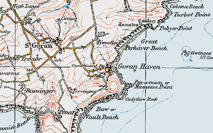Old map of St Goran in 1919