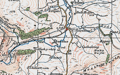 Old map of Banc Gelli-las in 1922