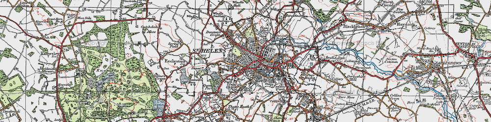 Old map of St Helens in 1923