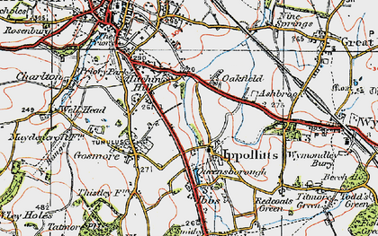 Old map of St Ippolyts in 1919