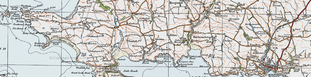 Old map of St Ishmael's in 1922