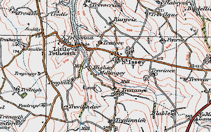 Old map of St Issey in 1919