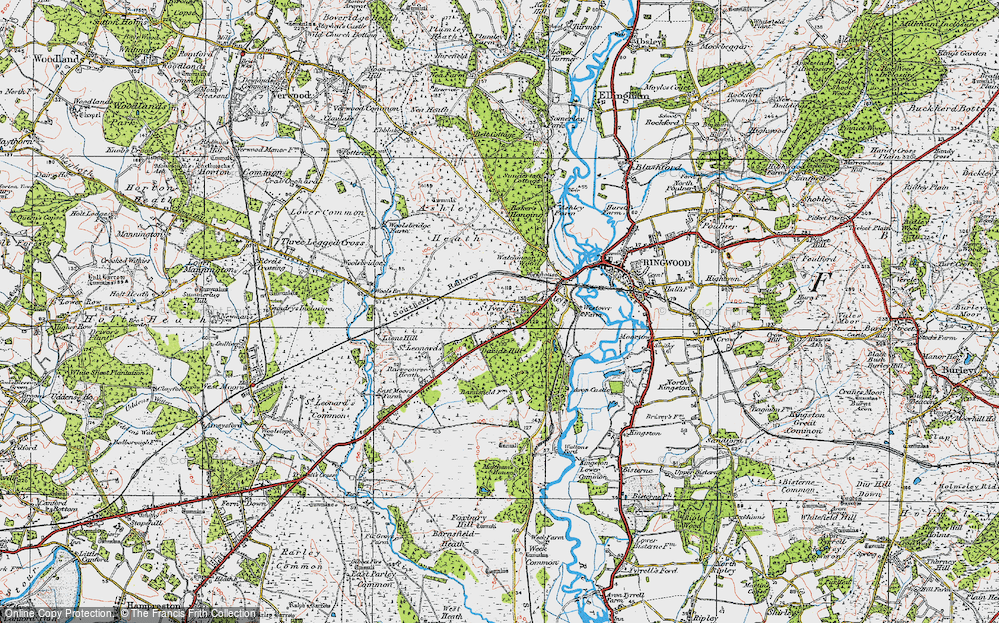 Old Map of Historic Map covering Avon Heath Country Park in 1919