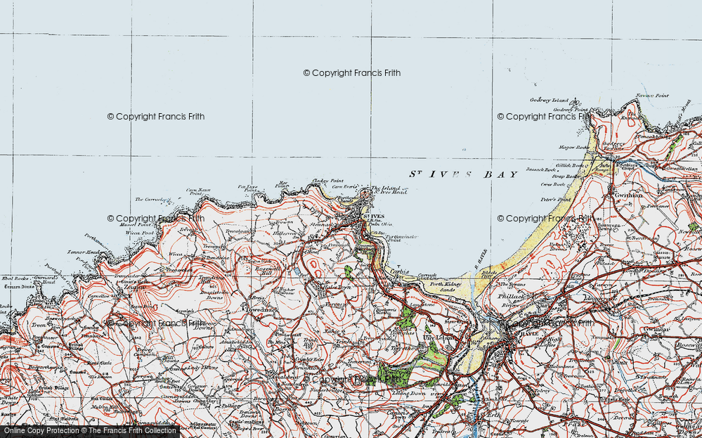 Old Map of St Ives, 1919 in 1919