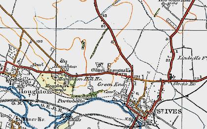 Old map of St Ives in 1919