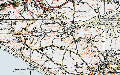 Old map of Withnoe Barton Fm in 1919