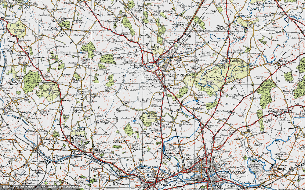 Old Map of Historic Map covering Warwickshire in 1919