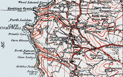 Old map of St Just in 1919