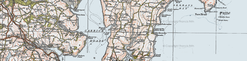 Old map of St Just in Roseland in 1919