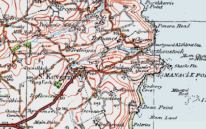 Old map of St Keverne in 1919