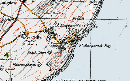 Old map of St Margaret's at Cliffe in 1920