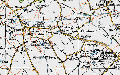 Old map of St Margaret South Elmham in 1921