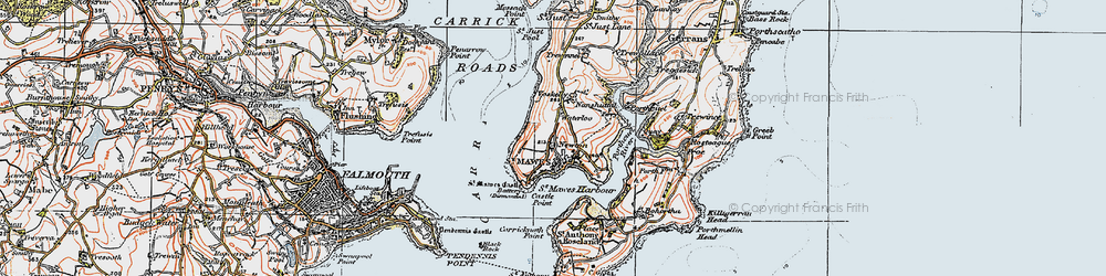 Old map of St Mawes in 1919